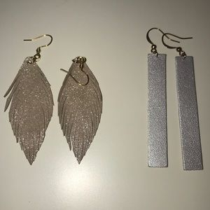 Leather earring duo